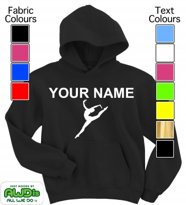 Personalised Kids Gymnastics Hoodie (Black)