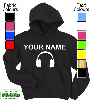 Personalised Kids Headphones Hoodie (Black)