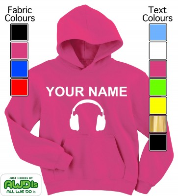 Personalised Kids Headphones Hoodie (Hot Pink)