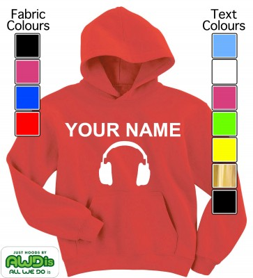Personalised Kids Headphones Hoodie (Red)