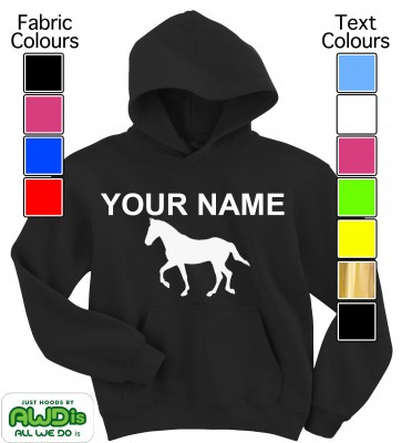 Personalised Kids Horse / Pony Hoodie (Black)