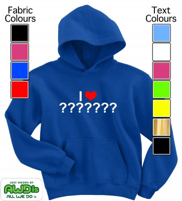 Personalised Kids I Love / Heart Hoodie (Blue)