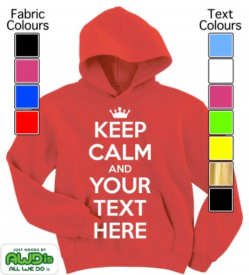 Personalised Kids Keep Calm Hoodie (Red)