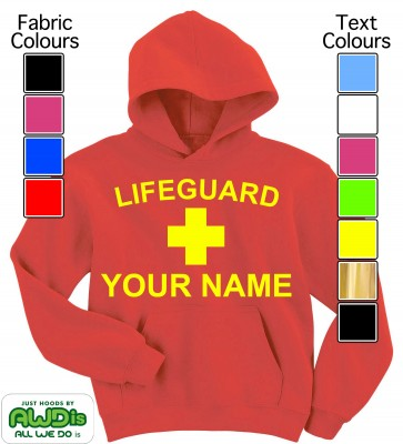 Personalised Kids Lifeguard Hoodie (Red)
