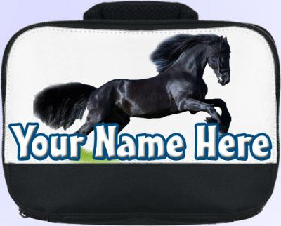 Personalized Black Horse Lunch Bag