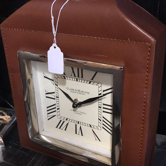 Leather and metal clock
