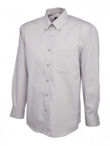 Mens Oxford Full Sleeve Shirt Silver/grey