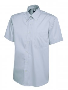 Mens Oxford Short Sleeve Shirt Light Blue