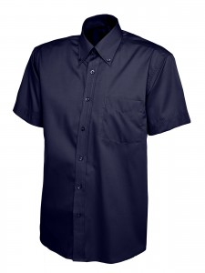 Mens Oxford Short Sleeve Shirt Navy