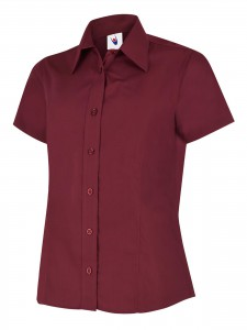 Ladies Poplin Half Sleeve Shirt Burgundy
