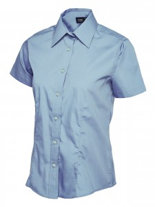 Ladies Poplin Half Sleeve Shirt Light Blue
