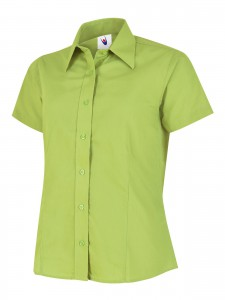 Ladies Poplin Half Sleeve Shirt Lime