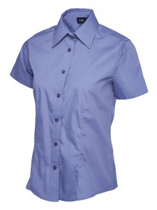 Ladies Poplin Half Sleeve Shirt Mid Blue