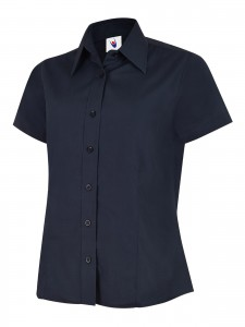 Ladies Poplin Half Sleeve Shirt Navy
