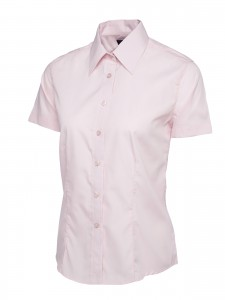 Ladies Poplin Half Sleeve Shirt Pink