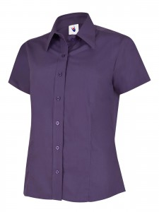 Ladies Poplin Half Sleeve Shirt Purple