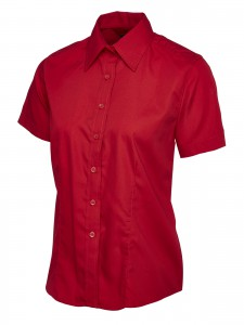 Ladies Poplin Half Sleeve Shirt Red