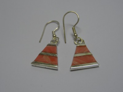 Light red triangle earrings