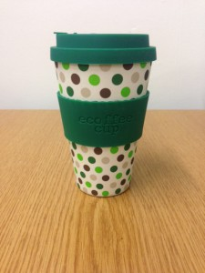 Eco coffee cup Green Polka