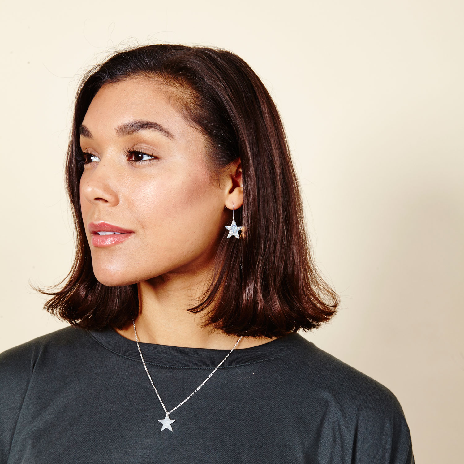 800216 Silver Plated Star Earrings