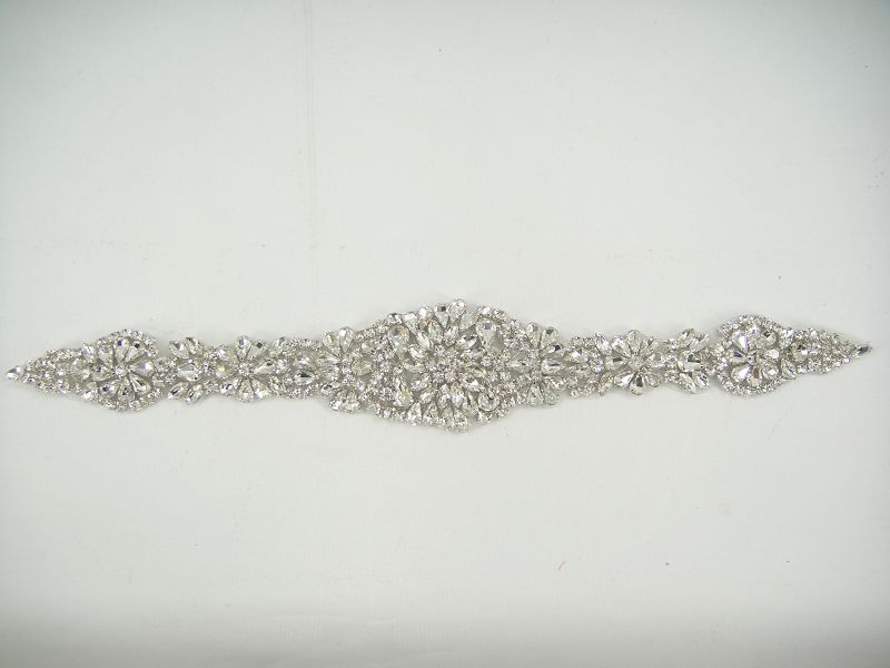 SM010 Gorgeous Diamante Trim Crystal Bridal Applique Beaded Motif Wedding Applique SM010