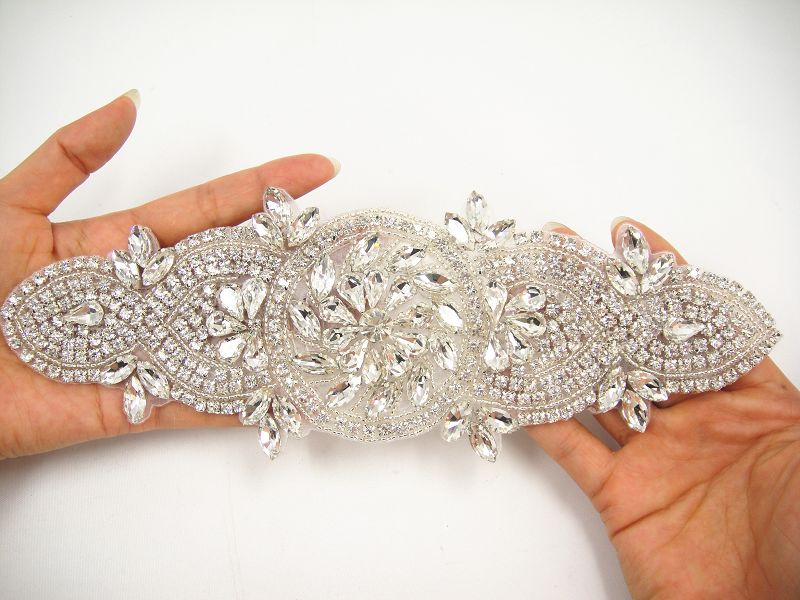 SM015 Wedding Accessories Crystal Applique Diamante Trim Beaded Motif