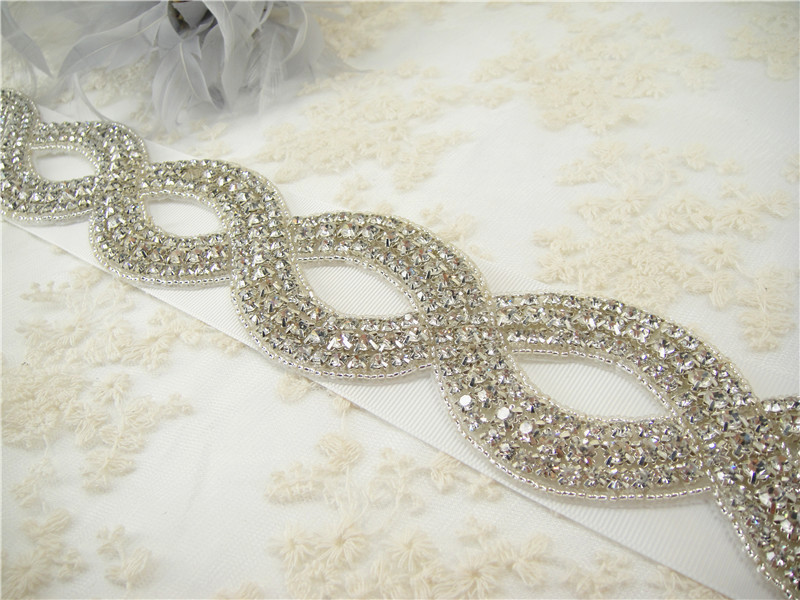 TTMY110 Wedding Dress Crystal Sash Applique Trim Diamante Add Glam Belts