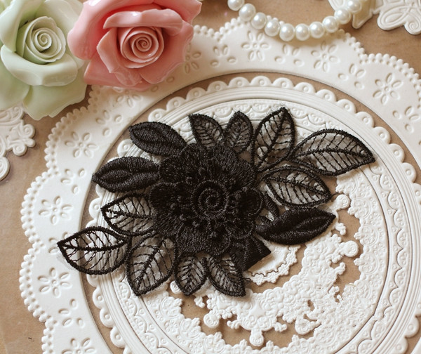 SAP1085 Floral Lace Applique Embroidery,3D Black Lace Applique