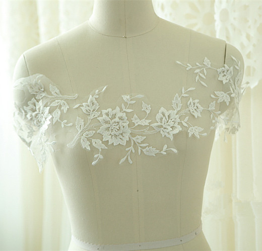 SAP1112 Lace Applique Bridal Dress Trim Floral Corded Wedding Motif