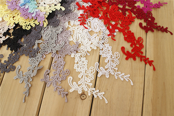 SAP1144 Guipure Trim Bridal Lace Applique Embroidery Wedding Motif 1 Pair