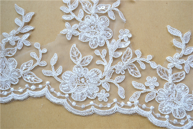 SLE1150 Embroidery Bridal Corded Lace Edging Trimming for Veil Dress