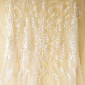 SFB1460 Embroidery Bridal Lace Fabric Floral Embroidery Wedding Lace Fabric