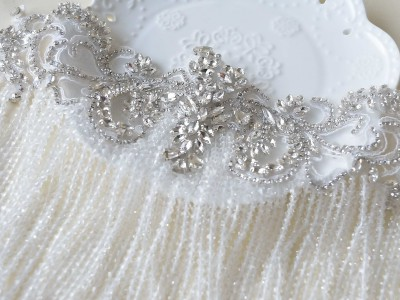 SFB1470 Rhinestone Beaded Tassel Applique for Prom Party Dress