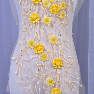 SAP1423 Beaded Embroidery Yellow Show Dance Dress Applique