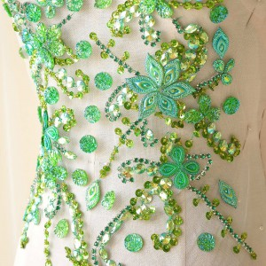 SAP1439-Green Stunning Rhinestones Motif Beading Bodice Applique Patch