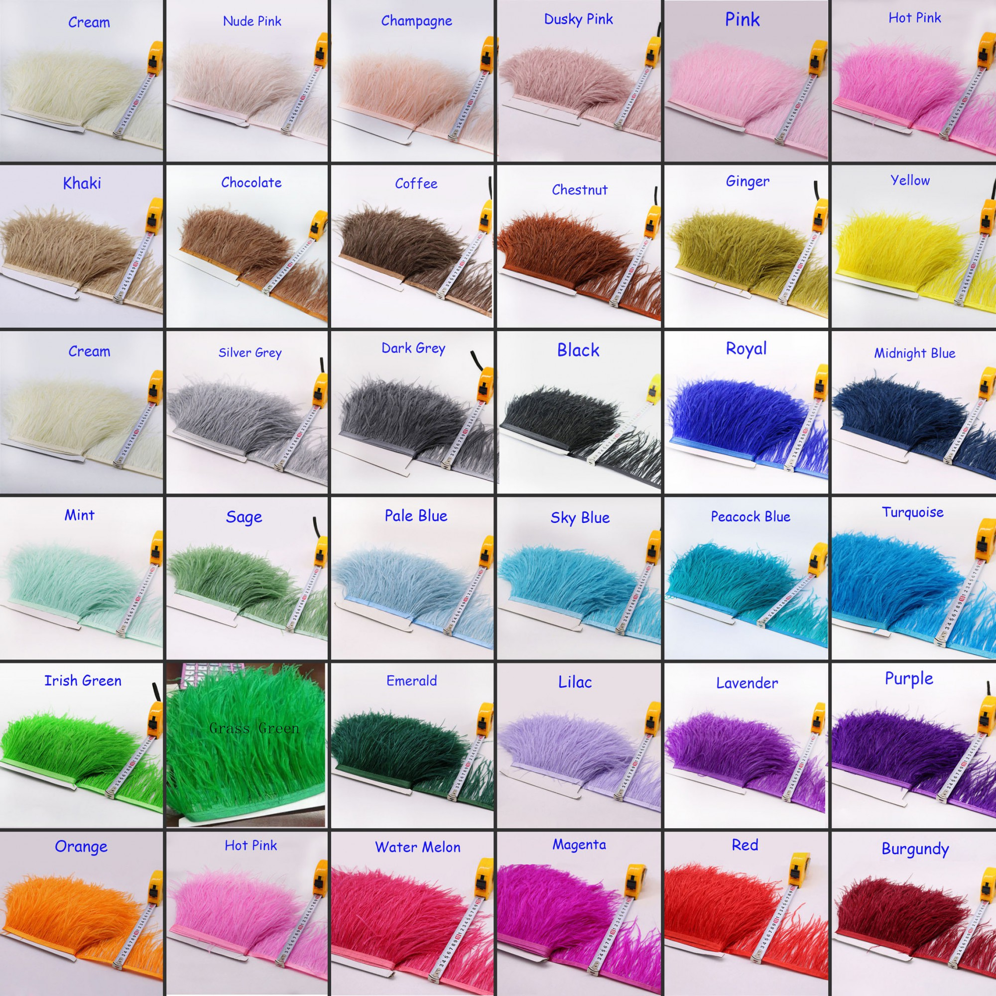Ostrich Fringe Feather Trim Edge Ribbon for Hat Millinery Fascinators 1 meter 34 Colours