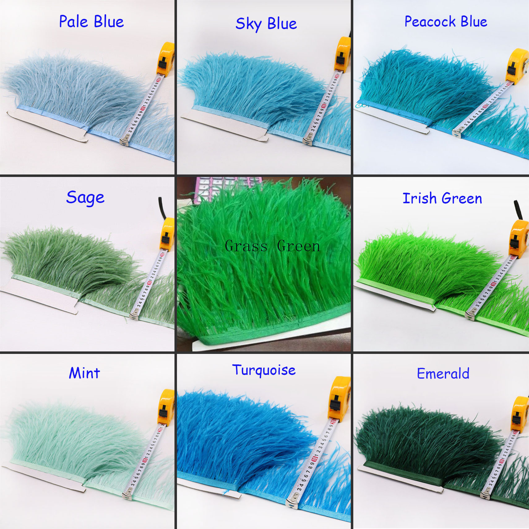 Ostrich Feather Trimming Fringe Tassels Plume with Satin Ribbon Decor for Dress Sewing Millinery Fascinators Crafts Costumes Pack of 1 meter