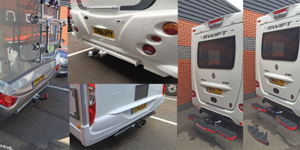 Various motorhome towbars pictured