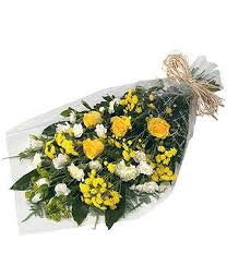 Funeral Flowers In Cellophane - Yellow