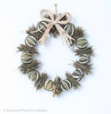 Green Orange & Bay Door Wreath
