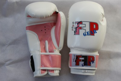 White With Pink Boxing Gloves