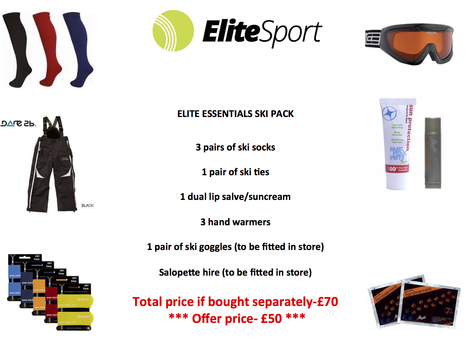 Elite Essentials Ski pack with free salopette hire