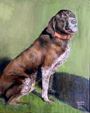 A dog portrait in oils.