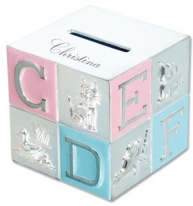 Babies money box pink and blue