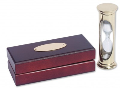 Brass 3 minute egg timer in presentation box