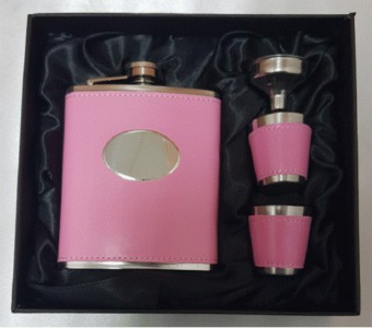 7oz Pink hipflask with 2 cups and funnel set