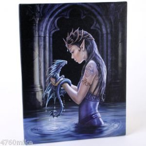 A Beautiful, Gothic Lady Standing In Water Holding A Dragon Design Canvas