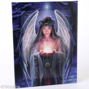 A Beautiful White Yule Angel Holding A Light Ball In The Palm Of Her Hands Design Wall Canvas.
