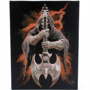Rock God Grim Reaper With Battle Axe Guitar Design Canvas Wall Plaque.