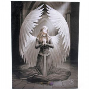 Prayer For The Fallen Praying Angel Design Canvas Wall Plaque.